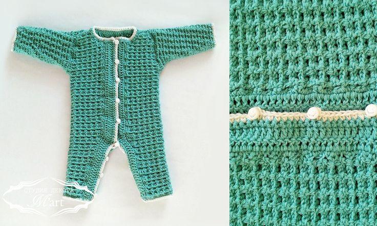Детский комбинезон. Вязание крючком. knitting children