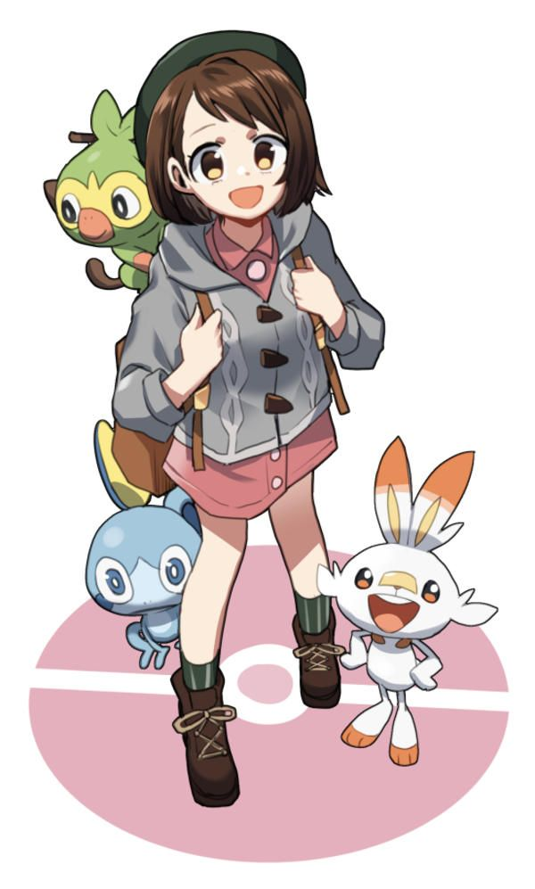 The Female Mc And Three Starters By Chawoo1357 Pokemon Sword And Shield Pokemon Characters Pokemon Anime