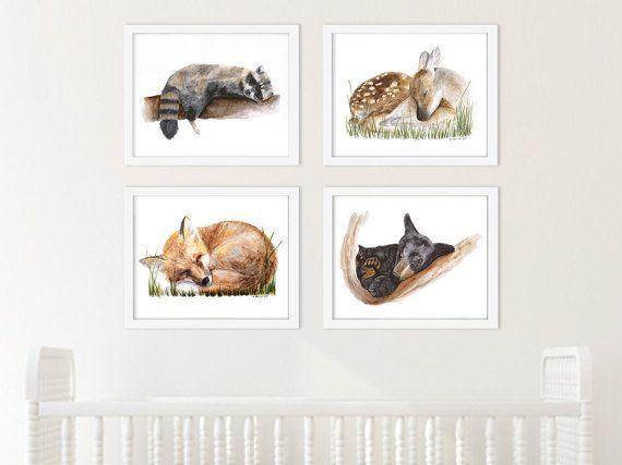 Nursery Print Set, Woodland Baby Animals, Animal Art, Sleeping Animals, Woodland Baby Decor, Fawn Art, Bear Cub, Fox Pup, Raccoon Watercolor #nursery #expectingmoms