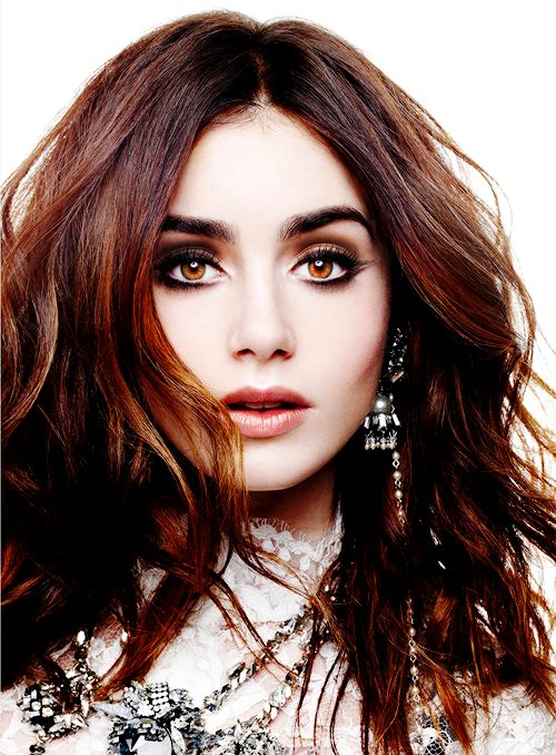 Lilly Collins; stunning brunette hair color! #hairstyle #brunette #adore