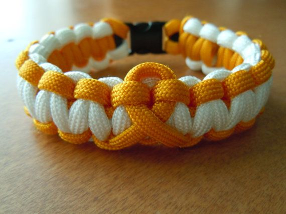 Childhood Cancer Awareness - gold and white paracord bracelet