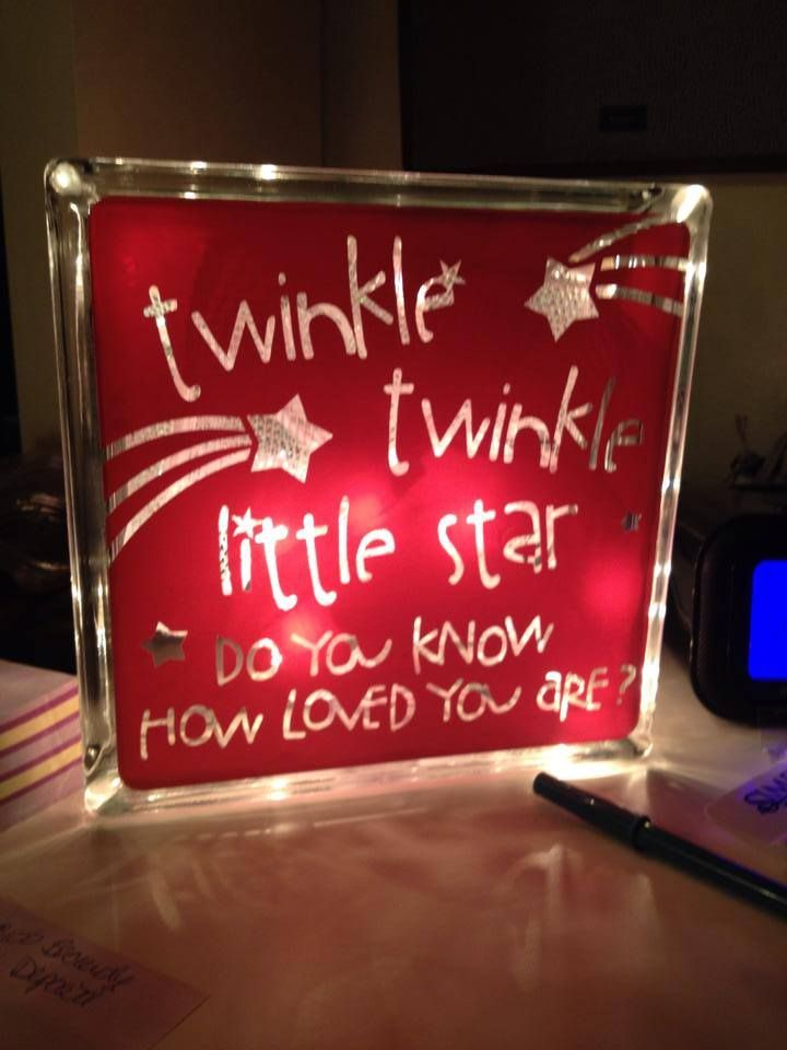Twinkle, Twinkle litte star do you know how loved you are? Night light made using a glass block, christmas lights, iriscendent mesh ribbon and vinyl in Bubble Gum Pink. - Quality vinyl lettering - Choose your color and size - Looks painted on - home decor - Simply Said Designs  http://www.mysimplysaiddesigns.com/trudi