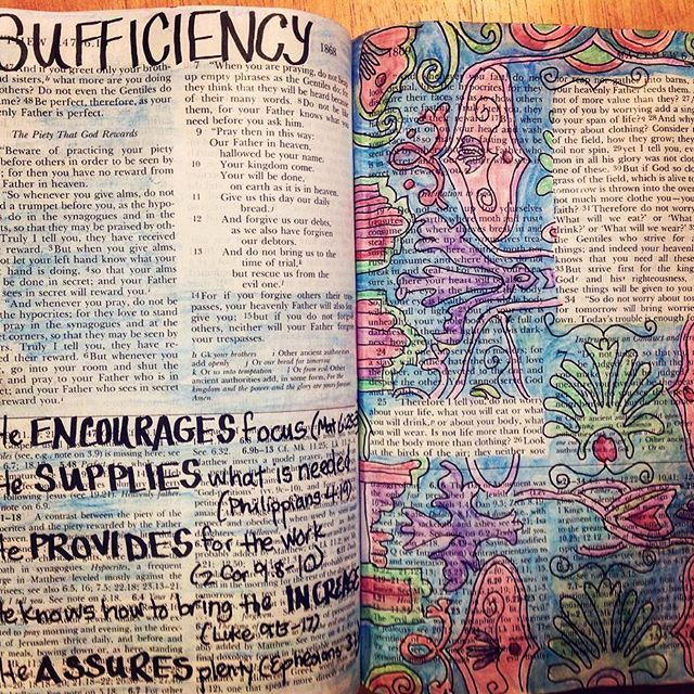 Today I will concentrate on His provision and love! #logansfive #craftedword #bibleart #biblejournalingcommunity #biblejournaling #illustratedbible #illustratedfaith #illustratedbibleverses #illustratedjournaling  5 for #sufficiency  1. He #encourages focus (#Matthew 6:25-34) 2. He #supplies what is needed (#Philippians 4:19) 3. He #provides for the work (#2corinthians9 :8-10.  4. He knows how to bring the #increase (#Luke 9:13-17) 5. He #assures #plenty (#Ephesians 3:20)