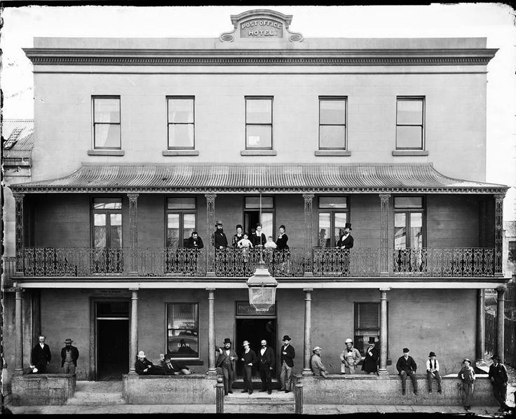 'Holtermann family and their Post Office Hotel, York Street, Sydney.  1870-1875. Zoomable image here: http://acms.sl.nsw.gov.au/_Zoomify/2011/D13950/a2825414.html
