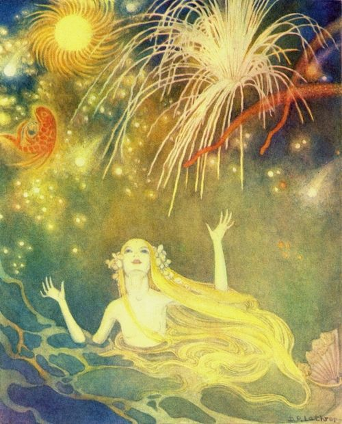Dorothy Lathrop ~The Little Mermaid~ 1939 ~via  She had never seen such magic fires.Great suns whirled round, gorgeous fire-fishhung in the blue air, and all was reflectedin the calm and glassy sea.