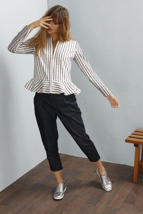 Womens Jackets - Peplum jacket - Cardigan Jacket - Zipper jacket - Fitted jacket - Stripes jacket - Tailored jacket - Diana jacket