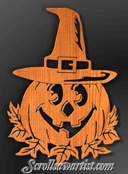 Scroll Saw Patterns :: Holidays :: Halloween :: Pumpkin with witch's hat -