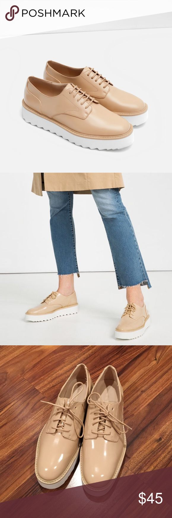 NWOT Zara beige flat platform lace up shoes Zara beige flat platform lace up shoes. Basically new without tags, only worn once, in perfect condition. Size 9.  — no trades — feel free to make an offer Zara Shoes Platforms