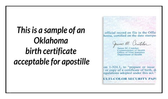State of Oklahoma Sample Apostille issued in Oklahoma City - birth certificate sample