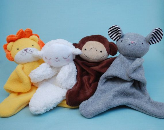 Lovey Dovey Lion, Lamb, Monkey, Mouse - Easy baby toy sewing pattern from While She Naps