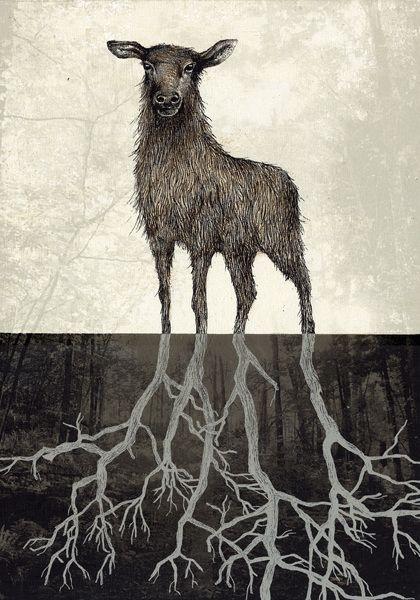 Piia Lehti: Juuret / Roots, 2015, serigrafia vanerille, 50 x 35 cm