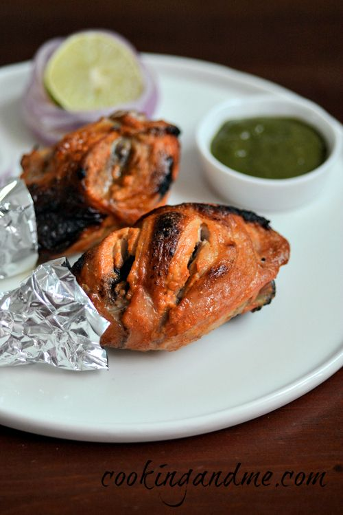 Tandoori chicken recipe, easy oven-baked tandoori chicken recipe using a marinade of yogurt, chillies, and spices. Step by step recipe with pictures.
