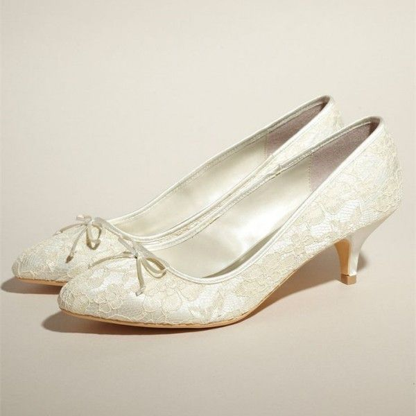 Ivory Bridal Shoes Lace Heels Pumps Kitten For Wedding