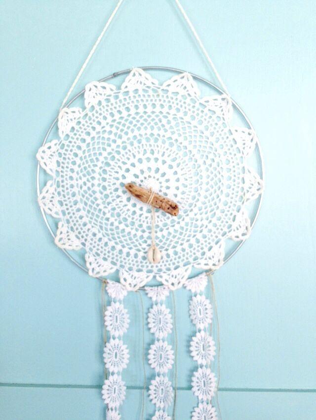 White drift dreamcatcher ....$20 #boho#dreamcatcher#doily#crochet#white#handmade#driftwood