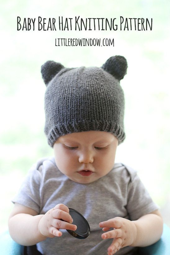 Baby Bear Ears Hat KNITTING PATTERN knit hat by LittleRedWindow
