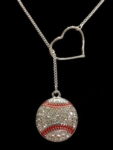 Heart Crystal Baseball Softball Gift For Mom Mother Sports Lariat Style Necklace