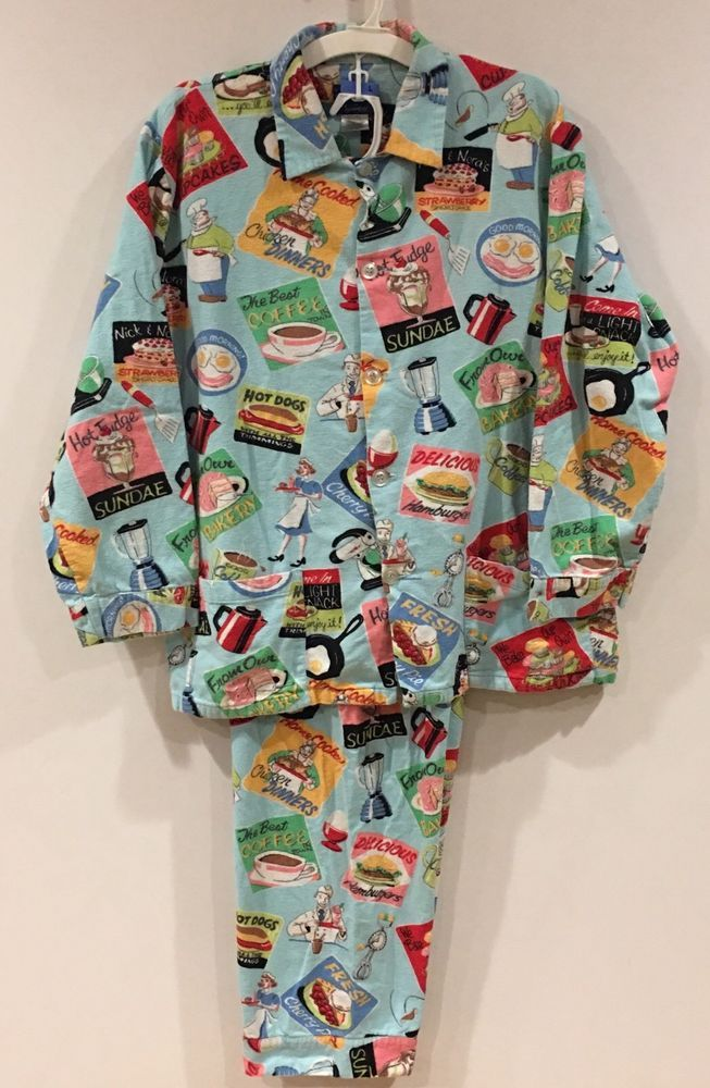 NICK & NORA Men's Flannel Pajamas Retro Diner Foodie Theme Size Large  | eBay