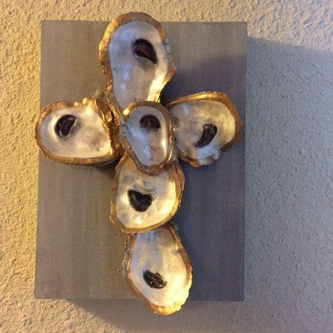 Cross Original handmade Oyster Shell painting acrylic art on canvas by JacksonAvenueArt on Etsy