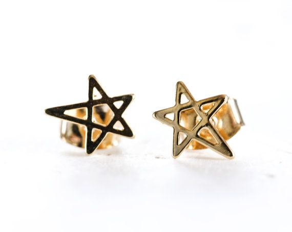1812_Earring 8 mm,Gold plated earring,Star earring,Gold earring,Golden star earring,Post part is 925 sterling silver,Gold plated star_1 pair