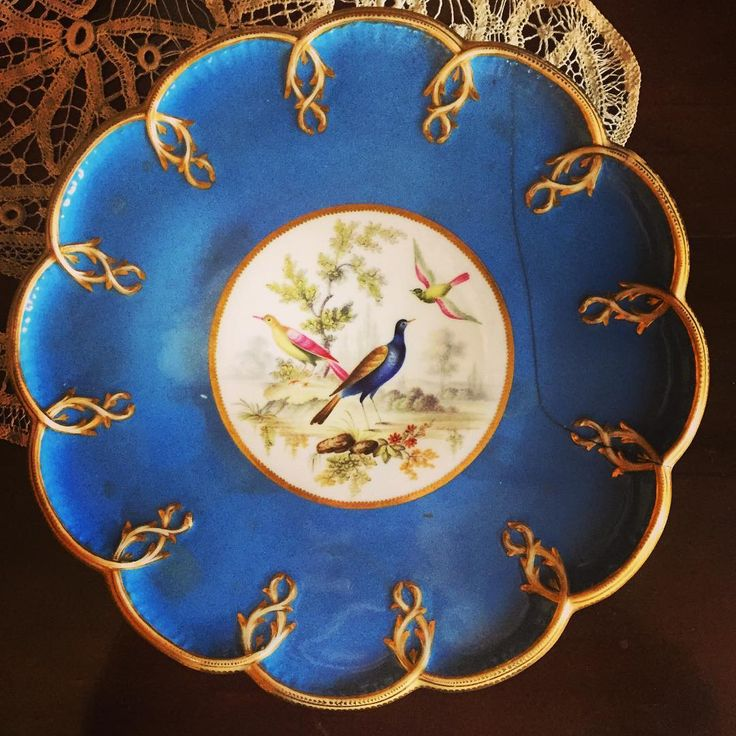 """Have you been following the #MuseumRainbow? Today is the colour blue! This beautiful Victorian serving plate is from #GibsonHouse and can be found in their front parlour - perfect for Mrs. Gibson's """"At Home"""" tea time where she would entertain her friends and family.  #museums #museum #Toronto #tohistory #tohistoricsites #Victorian #dinnerware #plates #blue"""