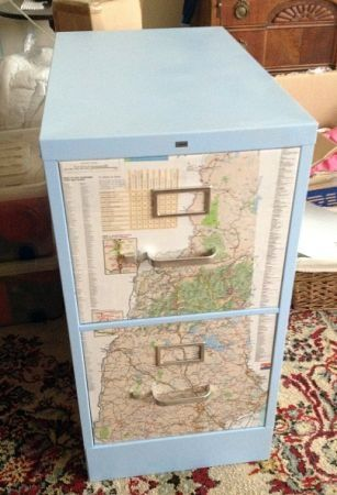 Filing cabinet for world-themed classroom