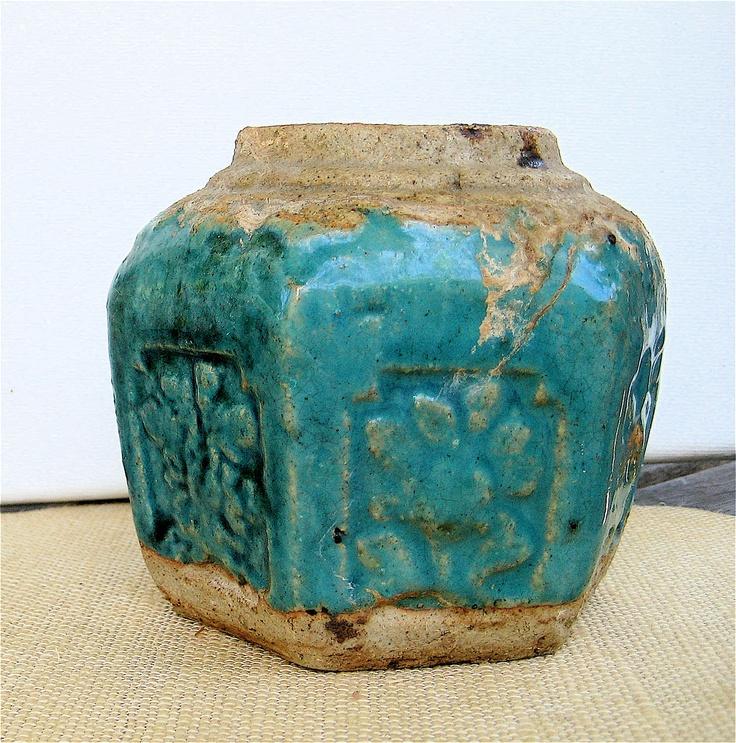 antique chinese ginger jar hexagonal turquoise glaze. Black Bedroom Furniture Sets. Home Design Ideas