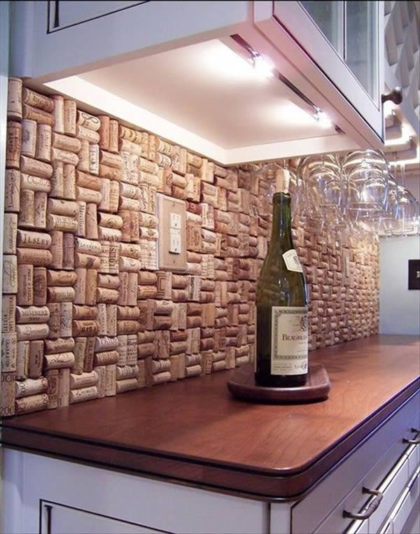 Cork wall back splash for those wine lovers who don't know what to do with all the corks they are left with