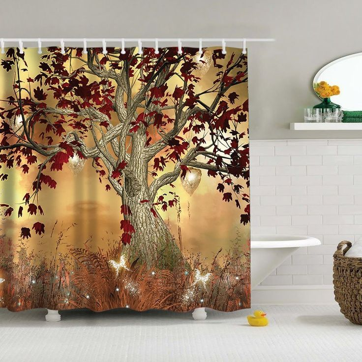 "Uphome Vintage Old Twisted Tree Print Bathroom Shower Curtain - Autumn Color Yellow-brown Custom Waterproof Polyester Fabric Bath Curtain Ideas (72""W x 78""H)"