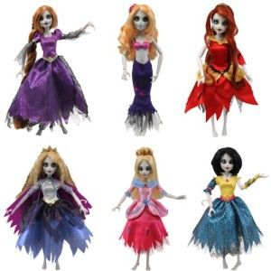 Once Upon a Zombie Dolls by Wow-Wee Complete Set of 6 Dolls: Belle, Rapunzel, Snow White, Sleeping Beauty, Little Mermaid, Cinderella