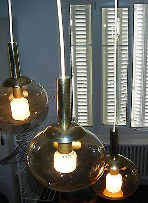 Très belle suspension 3 boules en verre irisés Vintage 1960 1970
