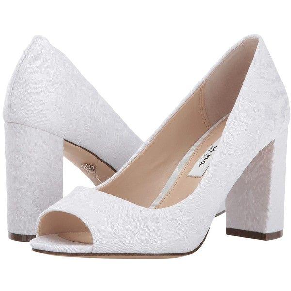 Nina Farlyn (Ivory) High Heels ($79) ❤ liked on Polyvore featuring shoes, pumps, nina shoes, peeptoe shoes, wrap shoes, metallic peep toe pumps and peep toe pumps