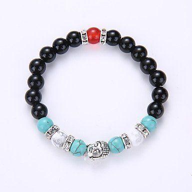 Strand armband vintage zwart wit rood turquoise met kleur Yoga