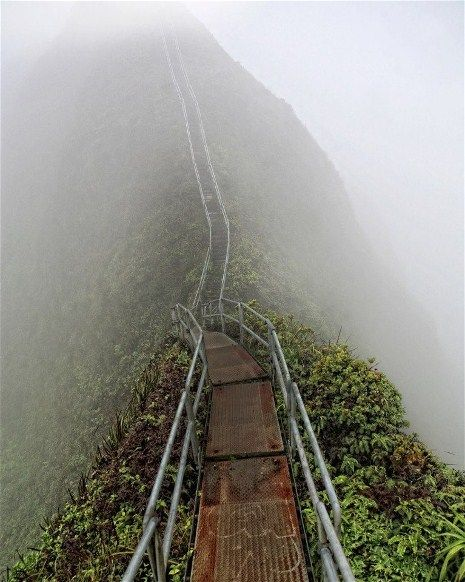 """""""The Haiku Stairs, or the Stairway to Heaven, is a semi-secret forbidden hike on the island of Oahu, Hawaii. The stairs were originally built in 1943 to install antenna cables as part of a larger military radio communication system to communicate with US Navy submarines as far away as Tokyo Bay."""""""