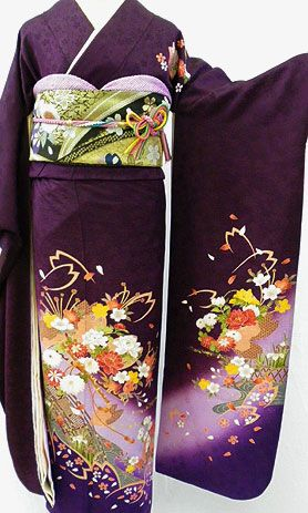 kimono-de-kyobijin | Rakuten Global Market:  Pure silk furisode with full set ' Violet and somewhat or classic traditional furisode ' └ ( February ~ 12 month rental )