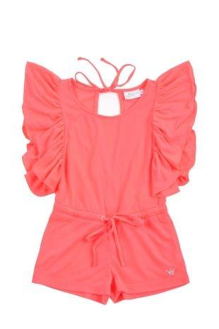 Braga corta para niña, en rosado fosforescente. Cuello redondo y vuelos grandes por mangas.