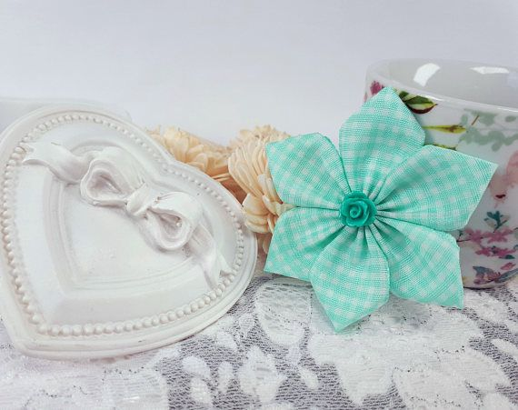 Turquoise fabric brooch flower brooch turquoise ribbon