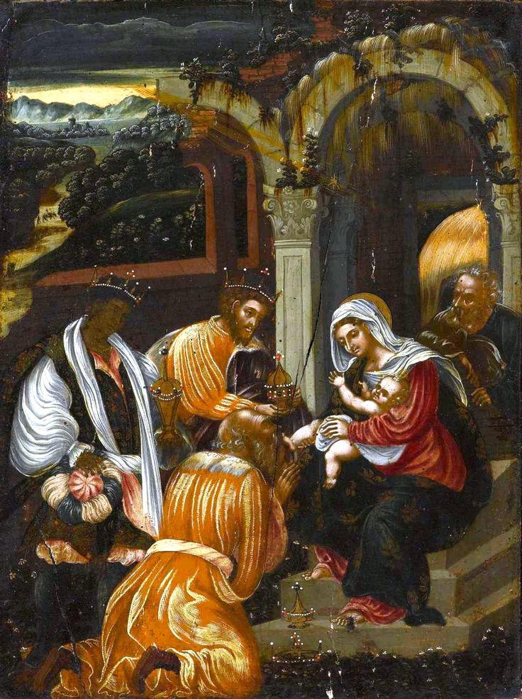 Adoration of the Magi.V-Cretan Michel Damaskino workshop c.1580. H.Korban collection