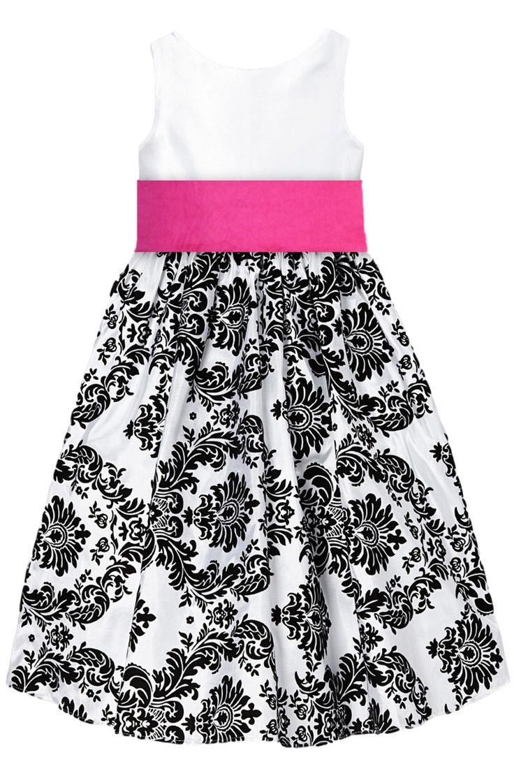 Black Velvet Flocked Damask on White Taffeta Christmas Dress with Fuchsia Pink Sash (Girls 2T - Size 12)
