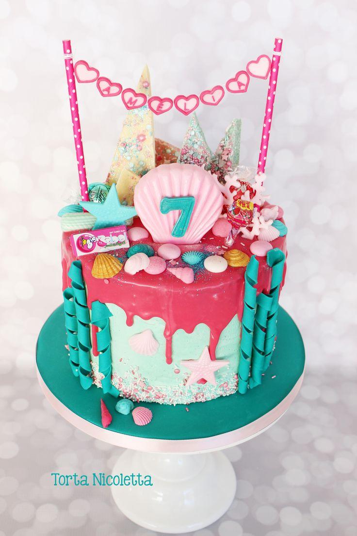 Mermaid Drip Cake Cakes Cupcake Cakes Birthday Cake