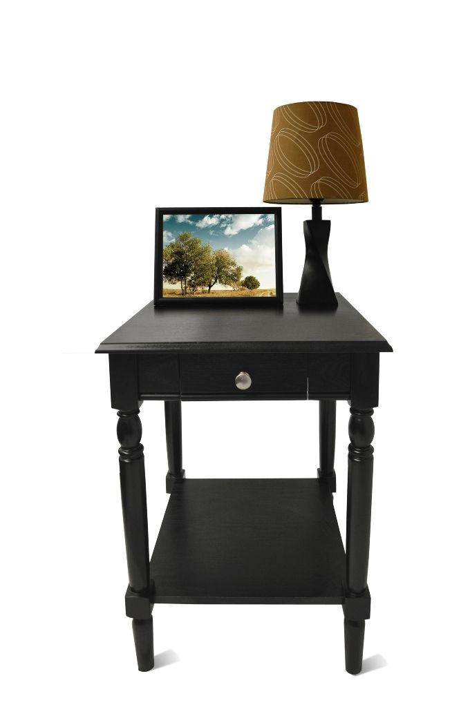 Best French Country End Table W Drawer Shelf In Black Finish 400 x 300
