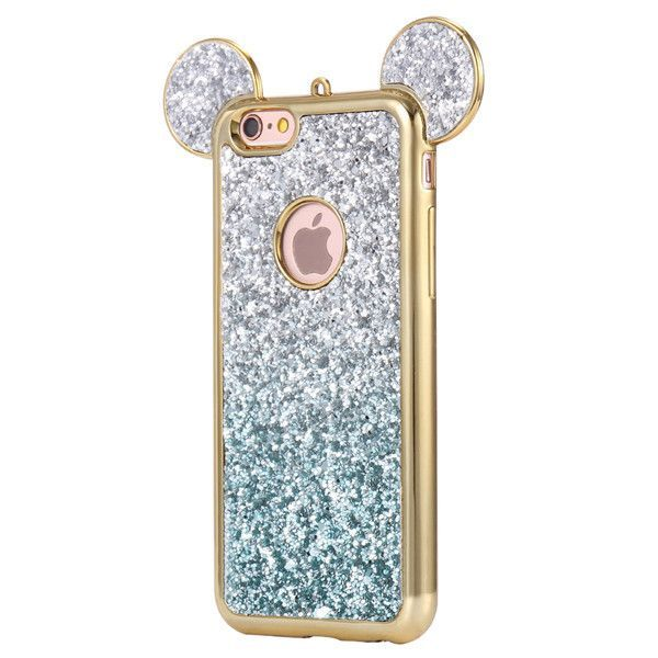Mickey Mouse Glitter Phone Case For Samsung S8 S7 Edge S6, For iPhone 6 6s Plus 7 5 5s
