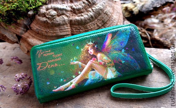 Купить Портмоне женский кожаный с рисунком зеленого цвета с хлястиком - кожаный кошелек, зеленый, рисунок
