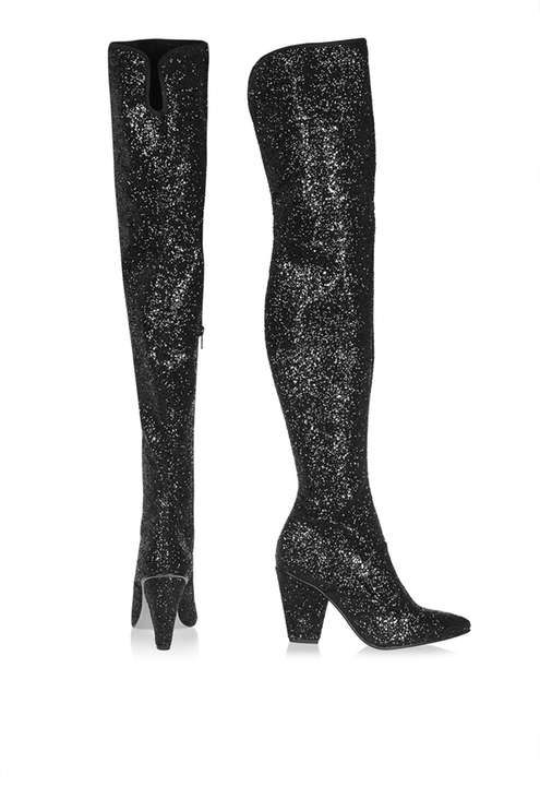 Over-the-knee boots are this AW16's shoe-of-the-moment. Dress them up for the party season with shimmery sequin detail with these luxe boots and team with a statement party dress for a show-stopping finish. #Topshop