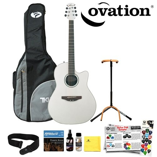 Ovation CC24-6PH Pearl White Acoustic-Electric Guitar with DPS/Planet Waves 16 Pick Sampler, EJ16 Strings, PWS100 Strap, U...Pearls White, Ej16 String, Acoustic Electric Guitar, Ovation Cc24 6Ph, Dps Planets Waves, Cc246Ph Pearls, Cc24 6Ph Pearls, Music Instuments, White Acoustic Electric