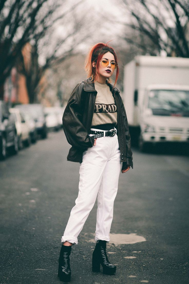 Talking feelings and resolutions. - LE HAPPY : LE HAPPY. Beige sweater+white jeans+black patent boots+dark brown leather jacket+black belt+Louis Vuitton mini backpack+sunglasses. Winter Casual Outfit 2017
