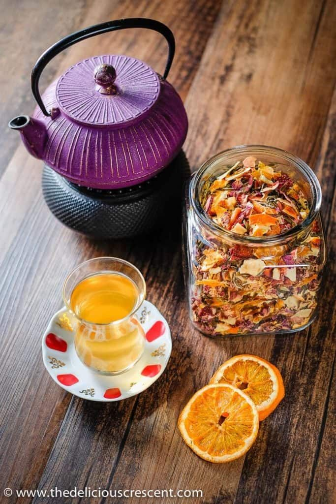 Homemade Tea Blend Similar To A Teavana Tea Blend Placed In A Glass Jar Along With The Tea Infusion Fruit Tea Recipes Homemade Tea Teavana Tea Recipes