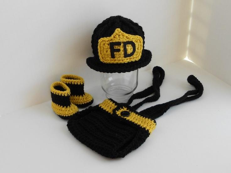 Crochet Baby Fireman Helmet, Diaper Cover, Suspenders and Boot Set, via Etsy.