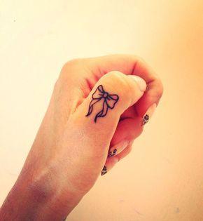 Bow Finger Tattoo. 55+ Cute Finger Tattoos | Cuded