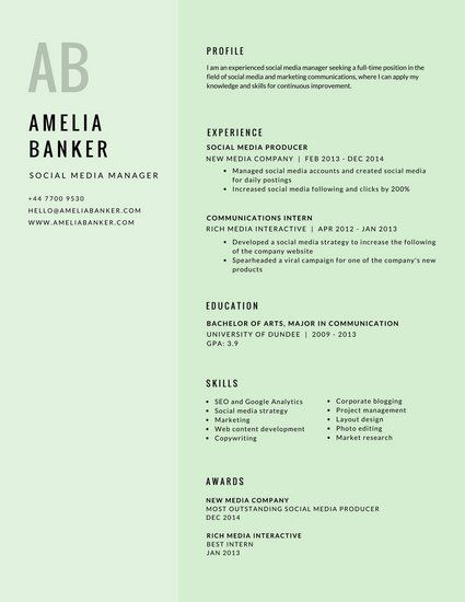 Pale Green Initials Simple Minimalist Resume