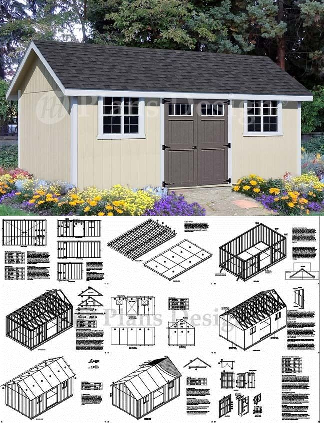 Shed Plans Blueprints 12 X 20 Gable Roof Style D1220g Free Material List Ebay Shed Plans Roof Styles Barn Style Shed